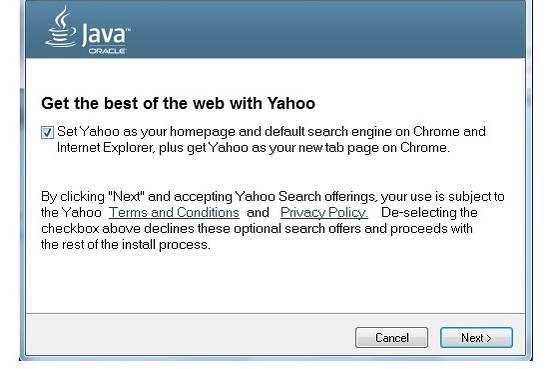 Στιγμιότυπο του Η Oracle αποφάσισε να αφαιρέσει το Ask with Yahoo! από τις Java ενημερώσεις