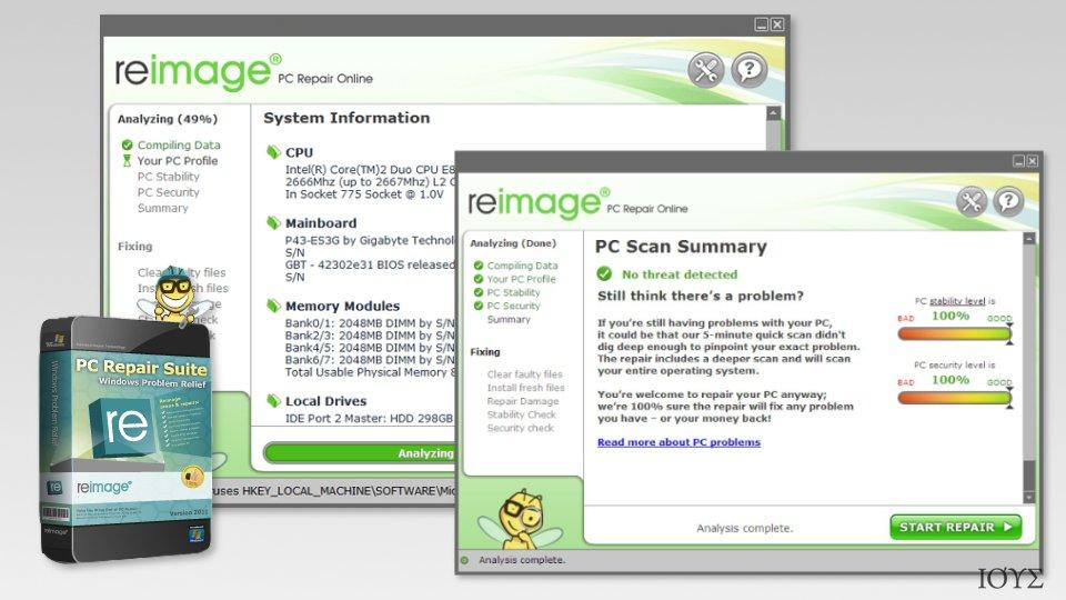 Screenshot of Reimage