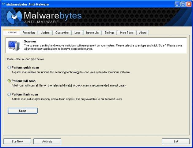 Στιγμιότυπο του Malwarebytes Anti Malware