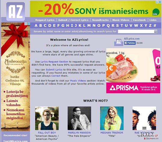 Στιγμιότυπο του Διαφημίσεις από AZLyrics