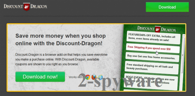 Στιγμιότυπο του 'Ads by Discount Dragon' virus