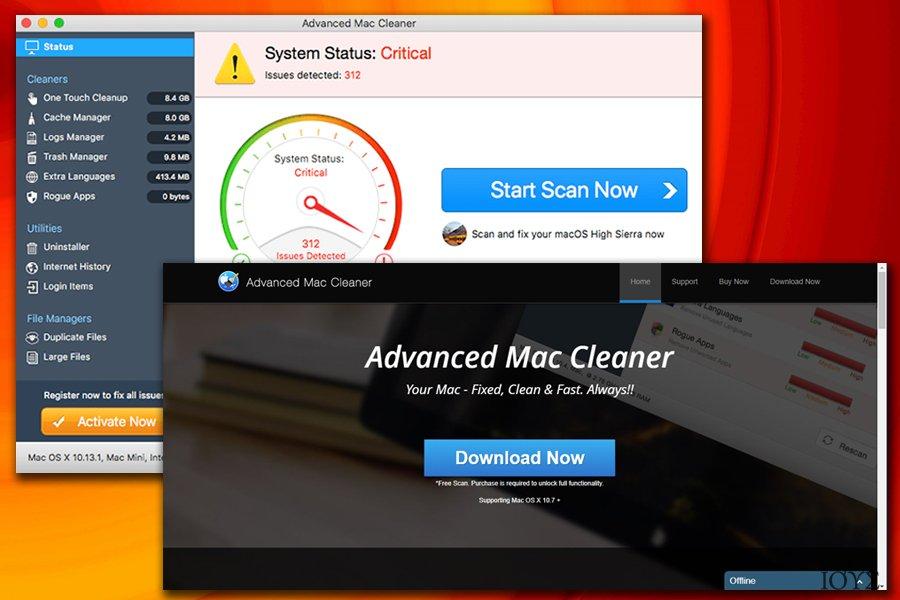 Στιγμιότυπο του Ιός Advanced Mac Cleaner