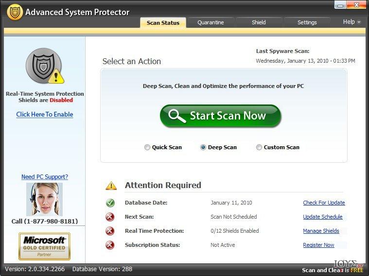 Στιγμιότυπο του Advanced System Protector