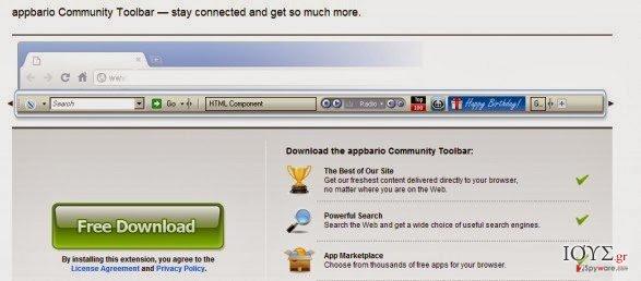 Στιγμιότυπο του Appbario toolbar