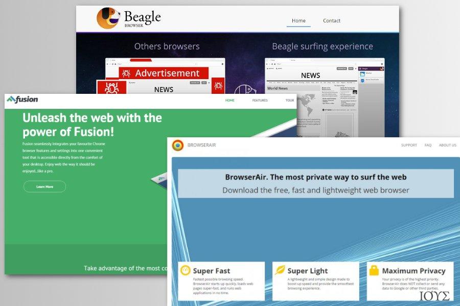 """Παραδείγματα από """"μαϊμού"""" Chromium browsers"""