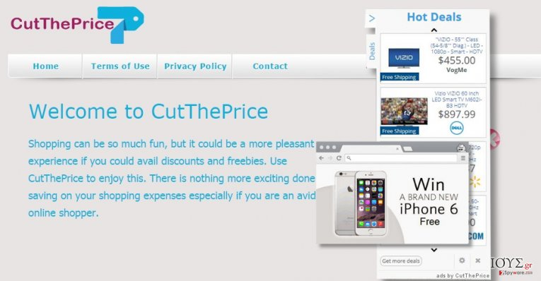 The main page of Cut The Price and its ads