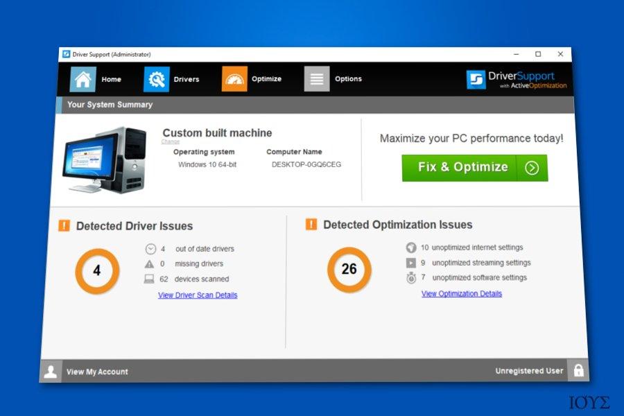 Στιγμιότυπο του Driver Support