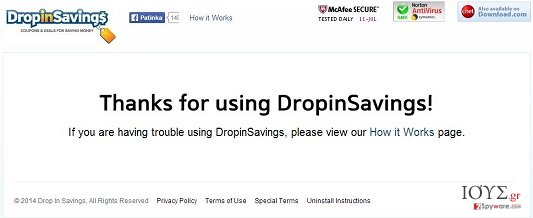 Στιγμιότυπο του DropinSavings virus