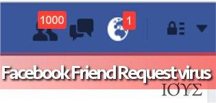 Απεικόνιση του ιού Facebook Friend Request
