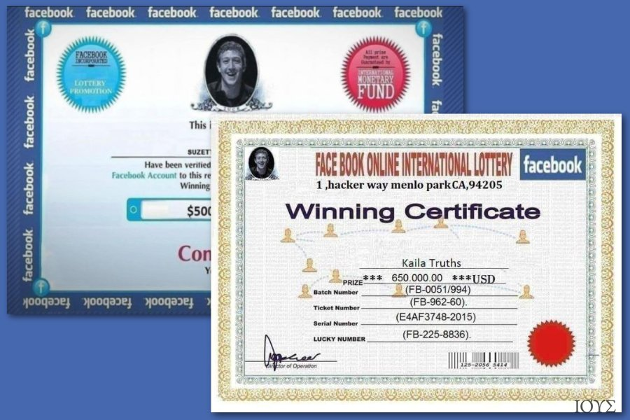 Facebook lottery scams