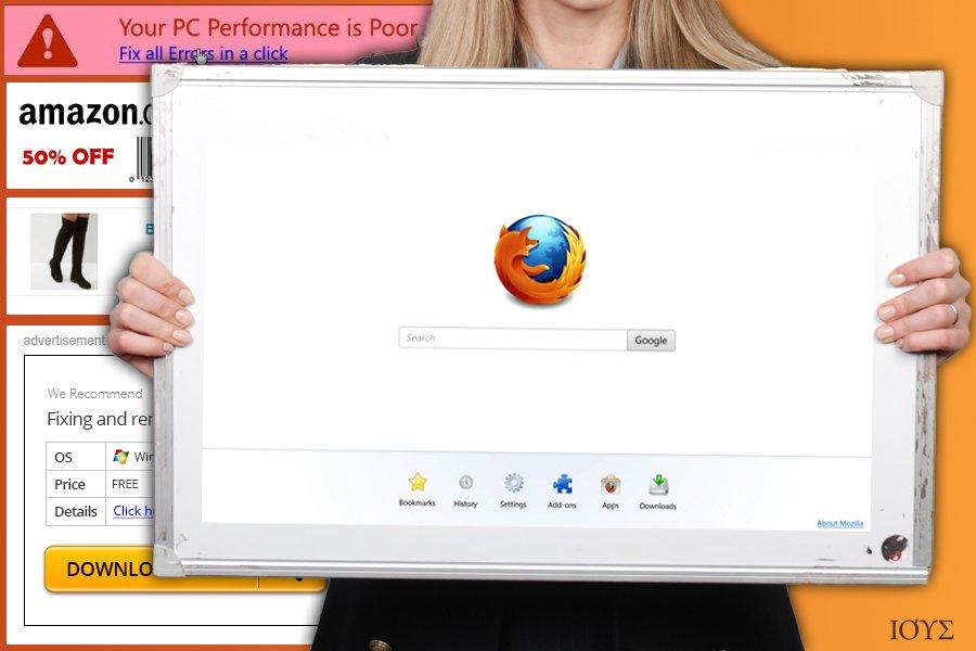 Στιγμιότυπο του Firefox redirect virus