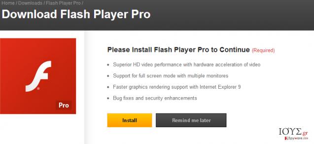 Στιγμιότυπο του Flash Player Pro virus