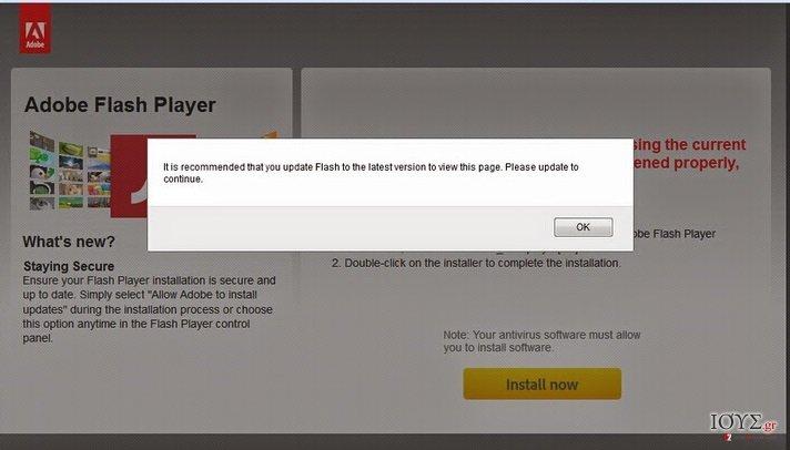 Στιγμιότυπο του Urgentflashinstaller.info ιός
