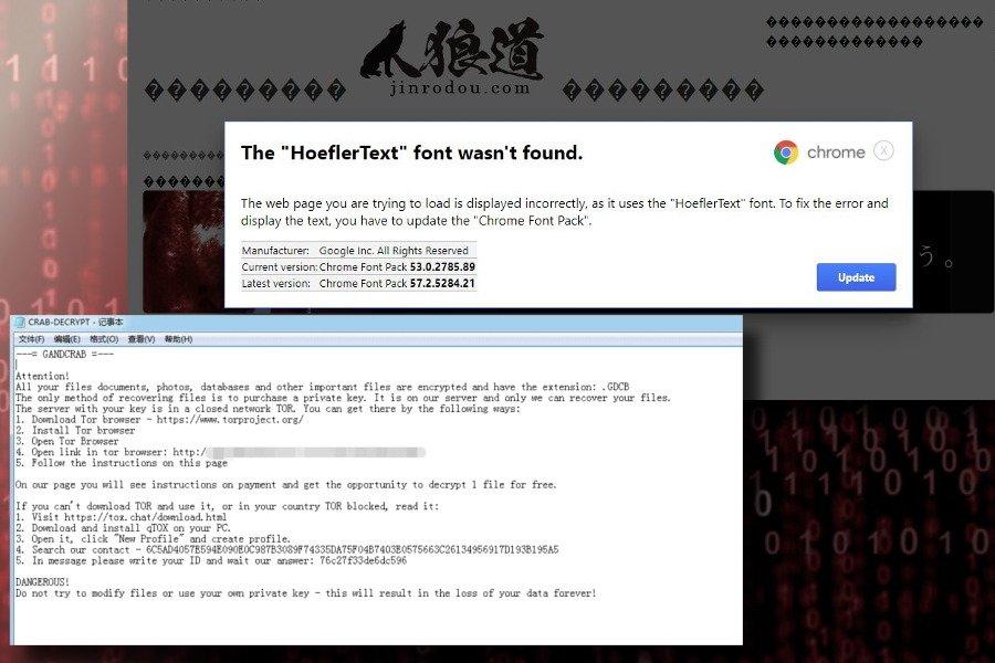 Ο ιός GandCrab εξαπλώνεται διαδικτυακά μέσω παραπλανητικών Hoefler text font ενημερώσεων