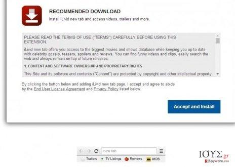 Στιγμιότυπο του iLivid New Tab hijacker