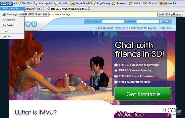 Στιγμιότυπο του IMVU Toolbar
