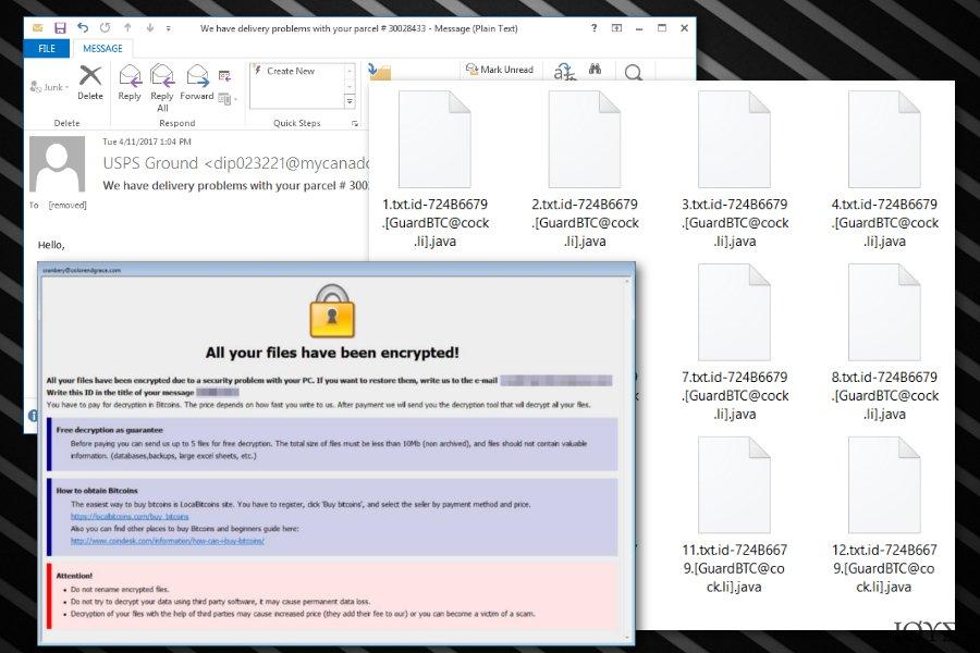 Στιγμιότυπο του Ιός ransomware με .java επέκταση αρχείου