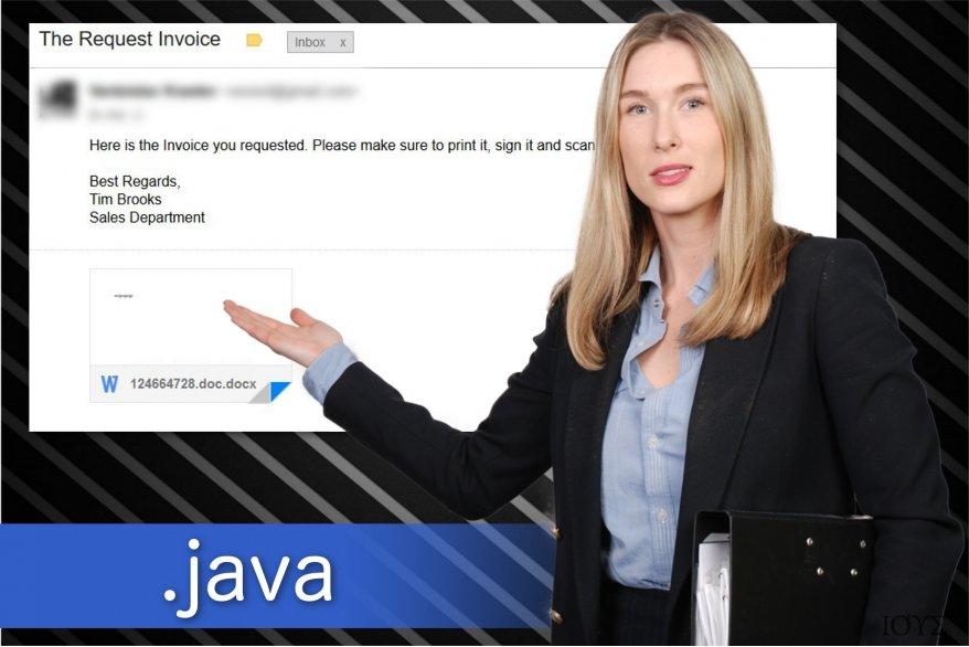 Απεικόνιση του ιού ransomware με .java επέκταση αρχείου