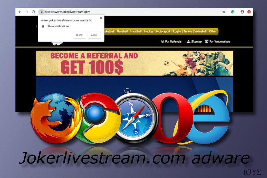 Jokerlivestream.com adware πρόγραμμα