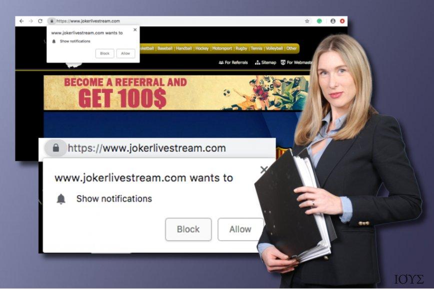 Το Jokerlivestream.com είναι ένα δυνητικά ανεπιθύμητο πρόγραμμα (PUP)