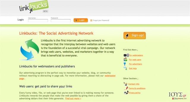 Στιγμιότυπο του Linkbucks.com virus