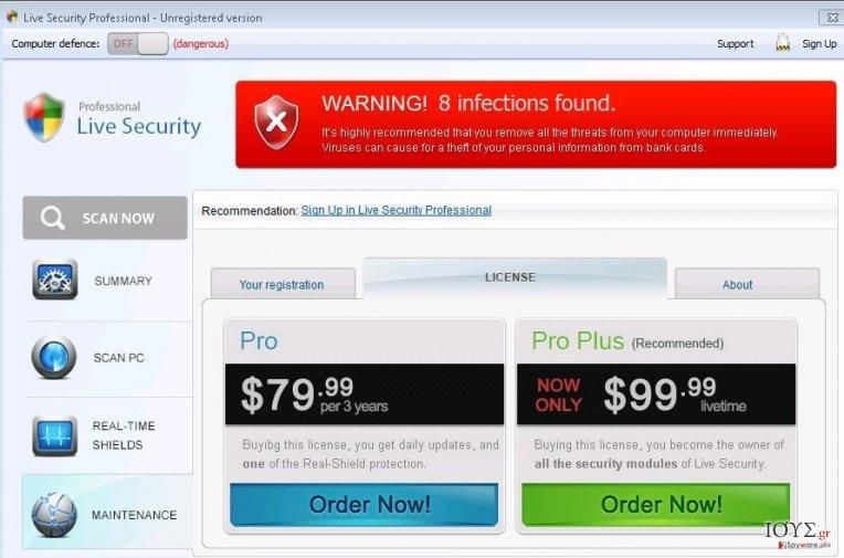 Στιγμιότυπο του Live Security Professional