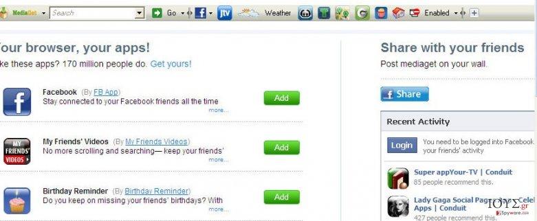 Στιγμιότυπο του MediaGet Toolbar