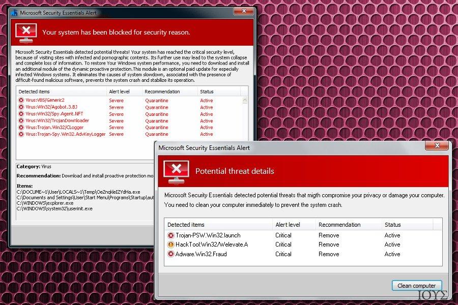 Στιγμιότυπο του Microsoft Security Essentials Alert virus
