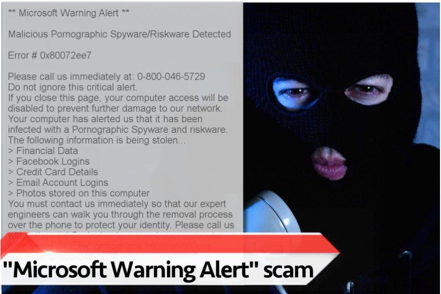 """Απεικόνιση του ιού """"Microsoft Warning Alert"""""""