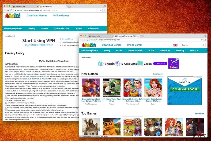 Στιγμιότυπο του MyPlayCity.com redirect
