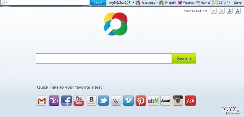Στιγμιότυπο του MyWebFace toolbar