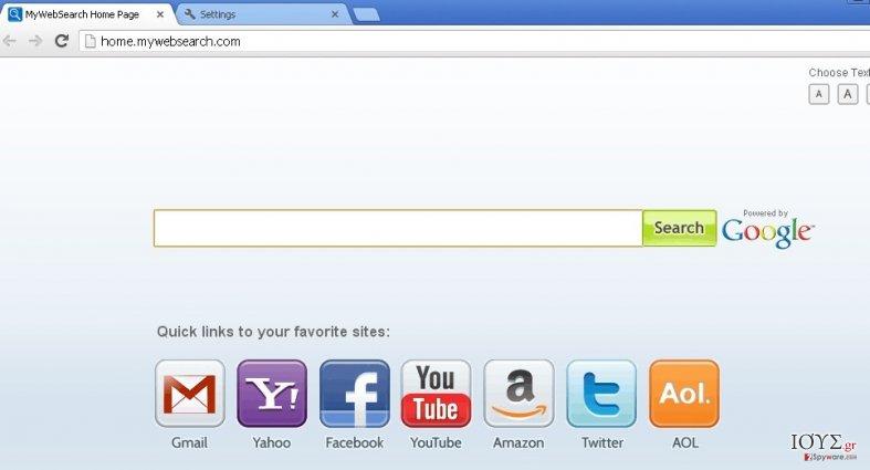 Στιγμιότυπο του mywebsearch.com