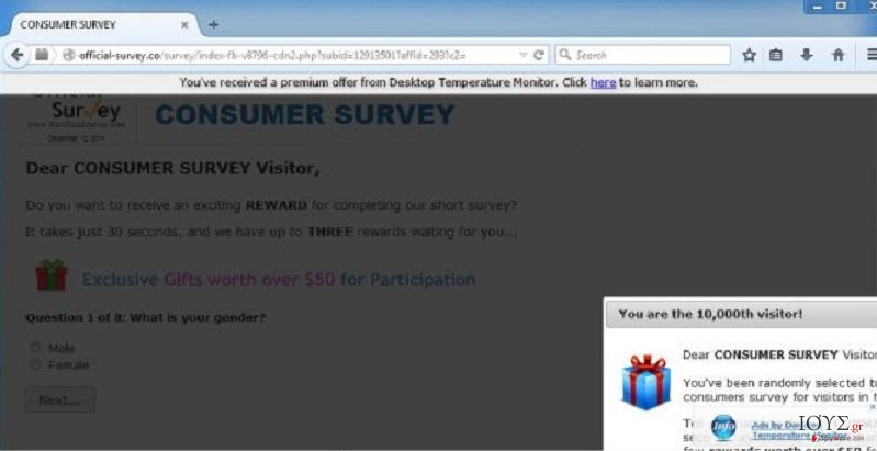Στιγμιότυπο του Official-survey.co ιός