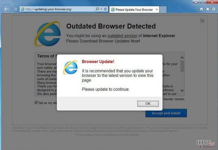 Στιγμιότυπο του Olo.updateweb.org αναδυόμενος ιός