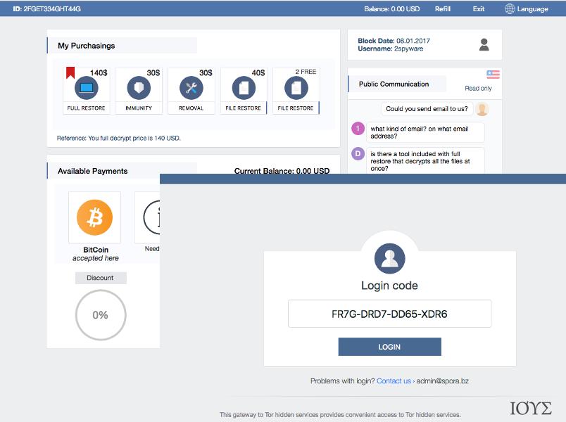 Υποστήριξη Χρήστη και άλλα χαρακτηριστικά Spora ransomware