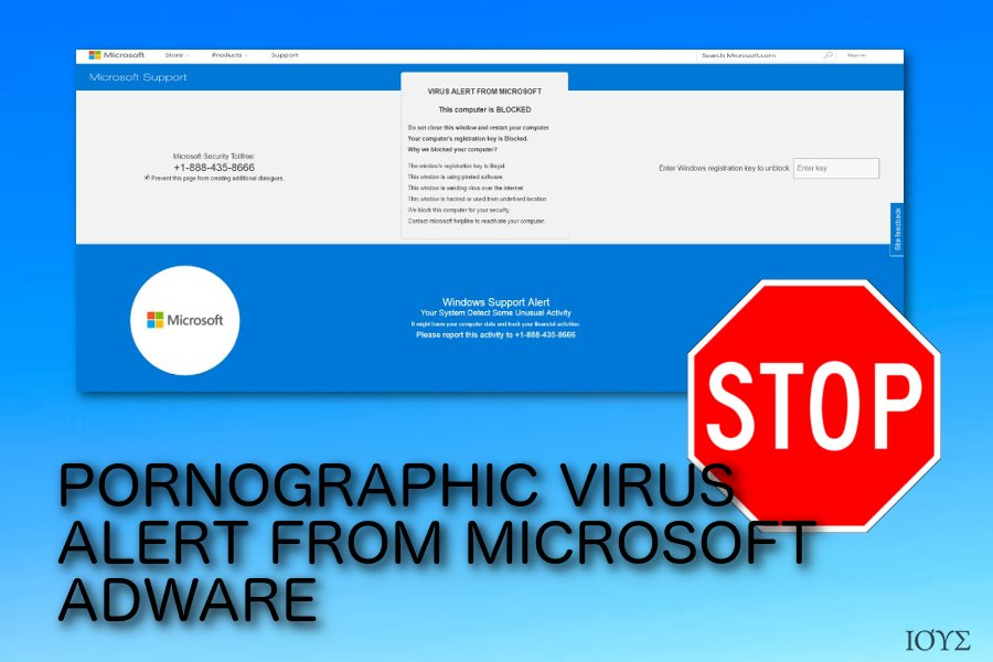 PORNOGRAPHIC VIRUS ALERT FROM MICROSOFT αναδυόμενο scam