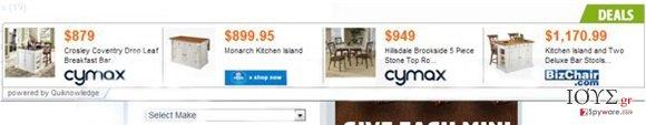 """Στιγμιότυπο του """"Ads by Quiknowledge"""" virus"""