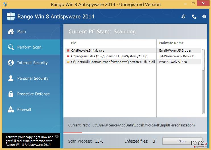 Στιγμιότυπο του Rango Win 8 Antispyware 2014
