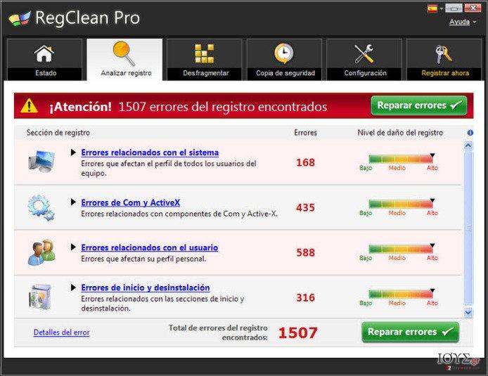 Στιγμιότυπο του RegClean Pro