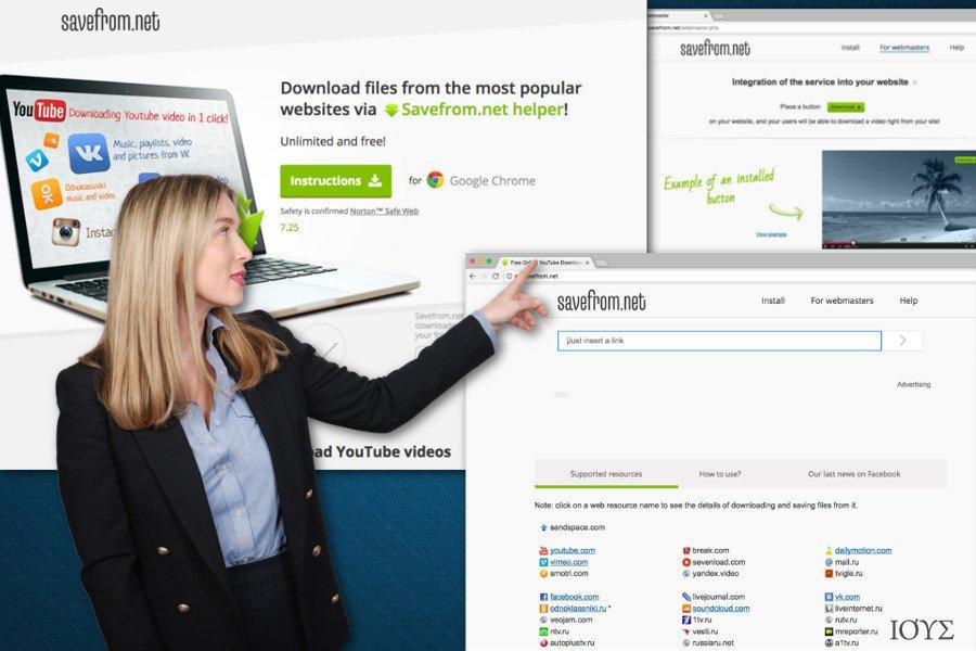 Απεικόνιση του SaveFrom.net βοηθητικού πρόσθετου