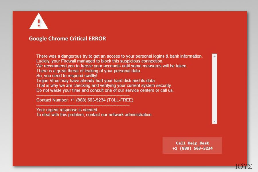 Screenshot of Google Chrome Critical Error