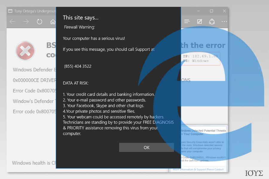 Στιγμιότυπο οθόνης που δείχνει τον Microsoft Edge ιό