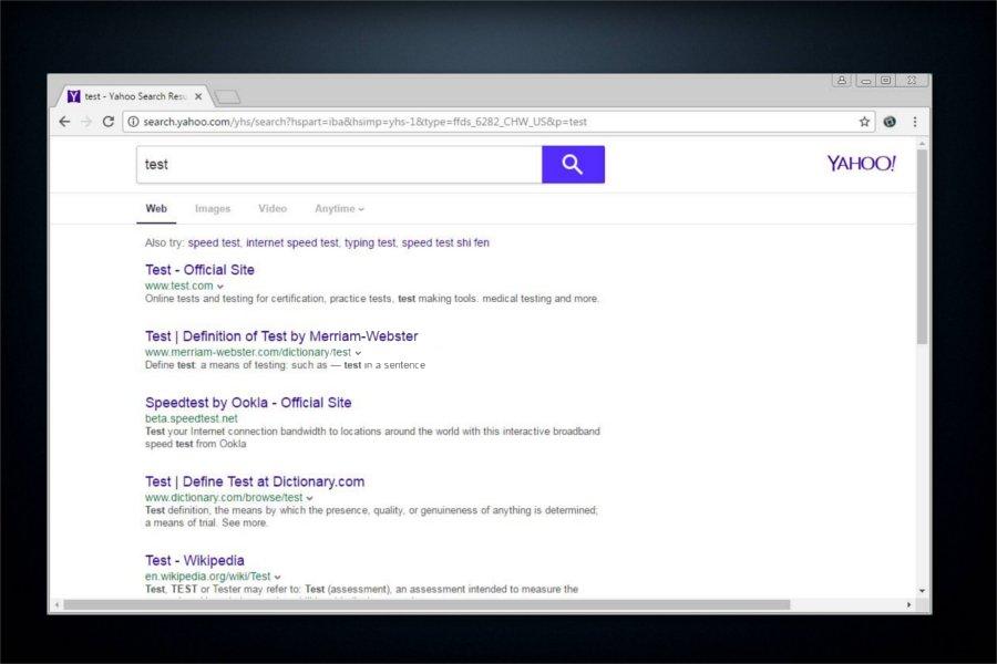 Στιγμιότυπο του Ανακατεύθυνση search.yahoo.com