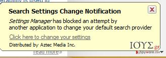 Στιγμιότυπο του Αναδυόμενος ιός Settings Manager by Aztec Media Inc