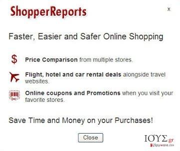 Στιγμιότυπο του ShopperReports adware