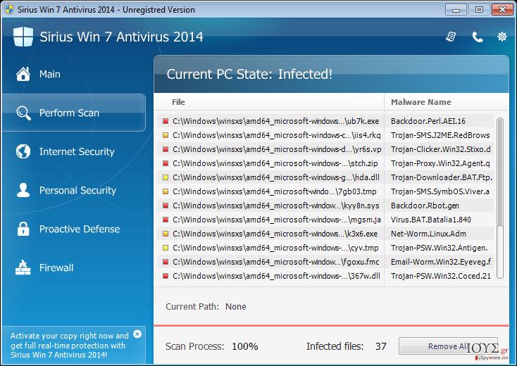 Στιγμιότυπο του Sirius Win 7 Antivirus 2014