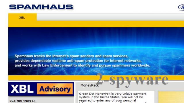 Στιγμιότυπο του Spamhaus virus