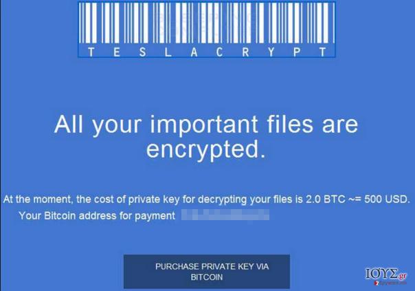 Στιγμιότυπο του TeslaCrypt 2.0