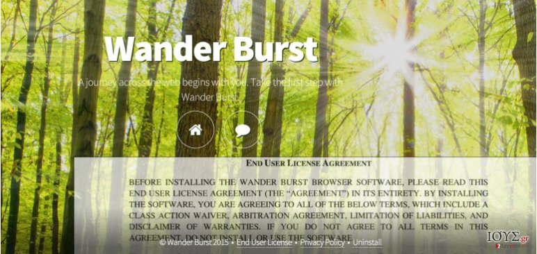 The main page of Wander Burst adware