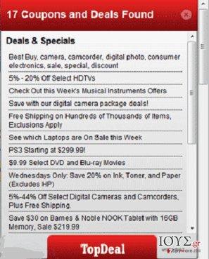 Στιγμιότυπο του TopDeal adware (λογισμικό ανεπιθύμητων διαφημίσεων)
